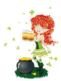 Leprechaun Girl with Beer Royalty Free Stock Image