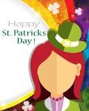 Leprechaun girl icon on rainbow Royalty Free Stock Image