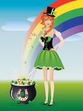 Leprechaun girl with pot of gold Royalty Free Stock Photos