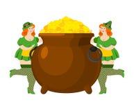 Leprechaun girl and pot of gold. Legendary treasures for lucky. Stock Photo