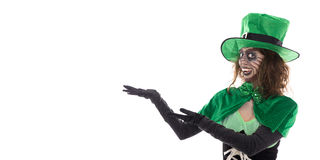 Leprechaun girl showing on copyspace, isolated on white Stock Photos