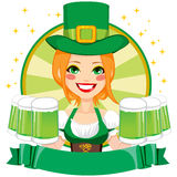 Leprechaun Girl Waitress Banner Stock Photo