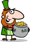 Leprechaun with gold cartoon illustration Stock Images