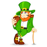 Leprechaun with Gold Coin Pot Stock Photography