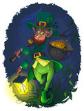 Leprechaun with gold coin pot Royalty Free Stock Photos