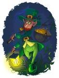 Leprechaun with gold coin pot Royalty Free Stock Photos