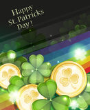 Leprechaun Gold coins and clover Royalty Free Stock Photography