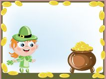 Leprechaun with a gold pot Stock Photo