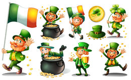 Leprechaun and gold in pot Stock Photos