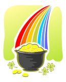 Leprechaun gold and rainbow Royalty Free Stock Photos