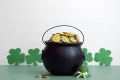 Leprechaun gold for st. patricks day. St. patty day background of leprechaun gold and hat Stock Photography