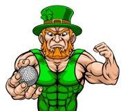 Leprechaun Holding Golf Ball Sports Mascot stock illustration
