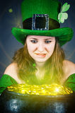 Leprechaun with greedy eyes Stock Photos