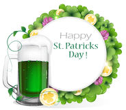 Leprechaun green beer with coins and clover Royalty Free Stock Photos