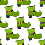 Leprechaun Green Shoe Seamless Pattern Stock Image
