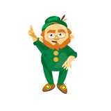 Leprechaun in a green suit. Says clever idea Stock Photos