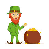 Leprechaun in green suit stands next to a pot full of gold. Flat character isolated on white background. Vector Stock Images