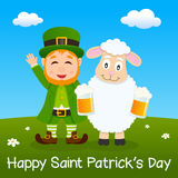 Leprechaun & Happy Sheep Drinking Beer Stock Image