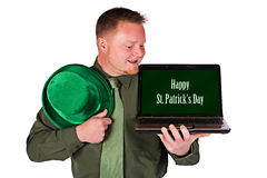 Leprechaun: Happy St. Patrick's Day on Laptop Royalty Free Stock Image