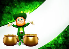 Leprechaun happy stands near golden coins pot Stock Photography