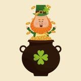 Leprechaun happy tossing gold pot. Vector illustration eps 10 Stock Photo