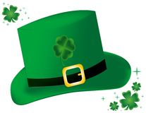 Leprechaun Hat. Illustration of a lucky leprechaun hat accented with a few four-leaf clover Royalty Free Stock Images