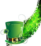 Leprechaun hat and abstract clover wave Stock Image