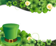 Leprechaun hat, clover and gold coins Stock Photos