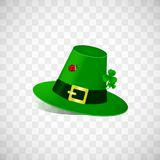Leprechaun hat with fhree leafed clover and ladybug isolated on transparent background. St. Patrick s day holiday good stock illustration