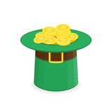 Leprechaun hat with gold. stock illustration