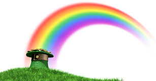 Leprechaun Hat With Gold On A Grassy Hill. A green leprechaun hat with a brown belt emblazened with a gold shamrock and overflowing with gold pieces at the end Stock Photo