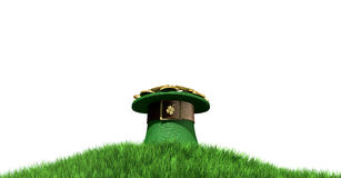 Leprechaun Hat With Gold On A Grassy Hill. A green leprechaun hat with a brown belt emblazened with a gold shamrock and overflowing with gold pieces on a green royalty free stock image