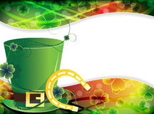 Leprechaun hat and  good luck horseshoe Royalty Free Stock Images