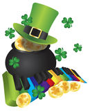 Leprechaun Hat with Piano Keys and Pot of Gold. St Patricks Day Leprechaun Hat with Rainbow Colors Piano Wavy Keyboard and Pot of Gold Coins Isolated on White Stock Photo
