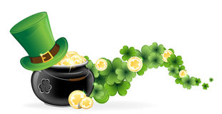 Leprechaun hat and pot of gold. Leprechaun hat and pot with gold coins on waved clover. St. Patricks Day symbol Royalty Free Stock Photography