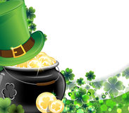 Leprechaun hat and pot with gold coins Stock Images