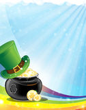 Leprechaun hat and pot with gold Royalty Free Stock Photo