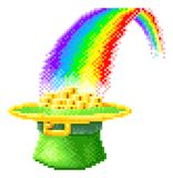 Leprechaun Hat Rainbow 8 Bit Pixel Art Icon. A St Patricks Day leprechaun hat full of gold coins at the end of a rainbow icon. In pixel art 8 bit arcade video royalty free illustration