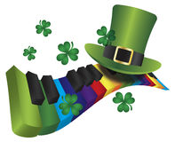 Leprechaun Hat with Rainbow Color Piano Keyboard. St Patricks Day Leprechaun Hat with Rainbow Colors Piano Wavy Keyboard Isolated on White Background Stock Image