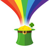 Leprechaun hat and Rainbow. Gold in Green Hat cylinder. Mythical Royalty Free Stock Photography