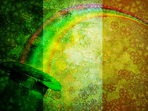 Leprechaun Hat Rainbow Grunge Flag Background Stock Photo