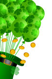 Leprechaun Hat with Shamrock Balloons Gold Coins. St Patricks Day Leprechaun Hat with Shamrock Balloons and Gold Coins Illustration Royalty Free Stock Photography