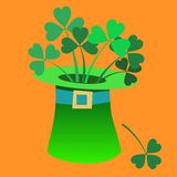 Leprechaun hat with a Shamrock inside Patrick day. Leprechaun hat with a Shamrock inside Patricks day symbol tale vector illustration