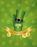 Leprechaun Hat Skull Head with Banner. St Patricks Day Irish Leprechaun Hat with Skull Head Banner and Gold Coins Illustration on Green Background Stock Photos