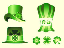Leprechaun hats and clovers Royalty Free Stock Photos