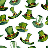 Leprechaun hats pattern. On a white background. Watercolor Stock Photo