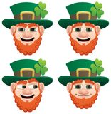 Leprechaun Head. A leprechaun head in 4 different face expressions Royalty Free Stock Photo