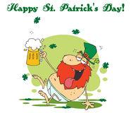 Leprechaun in his underwear, holding up a beer stock illustration