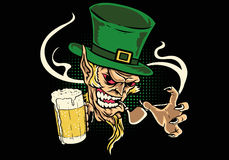 Leprechaun holding beer. Illustration of leprechaun holding beer Royalty Free Stock Photos