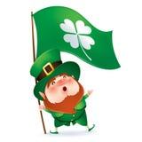 Leprechaun holding flag of clover symbol Stock Image